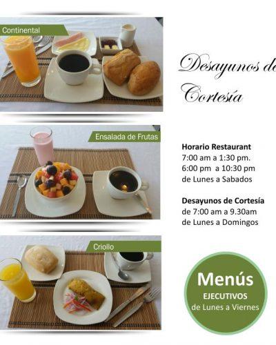 Desayuno de cortesia hotel boulevard